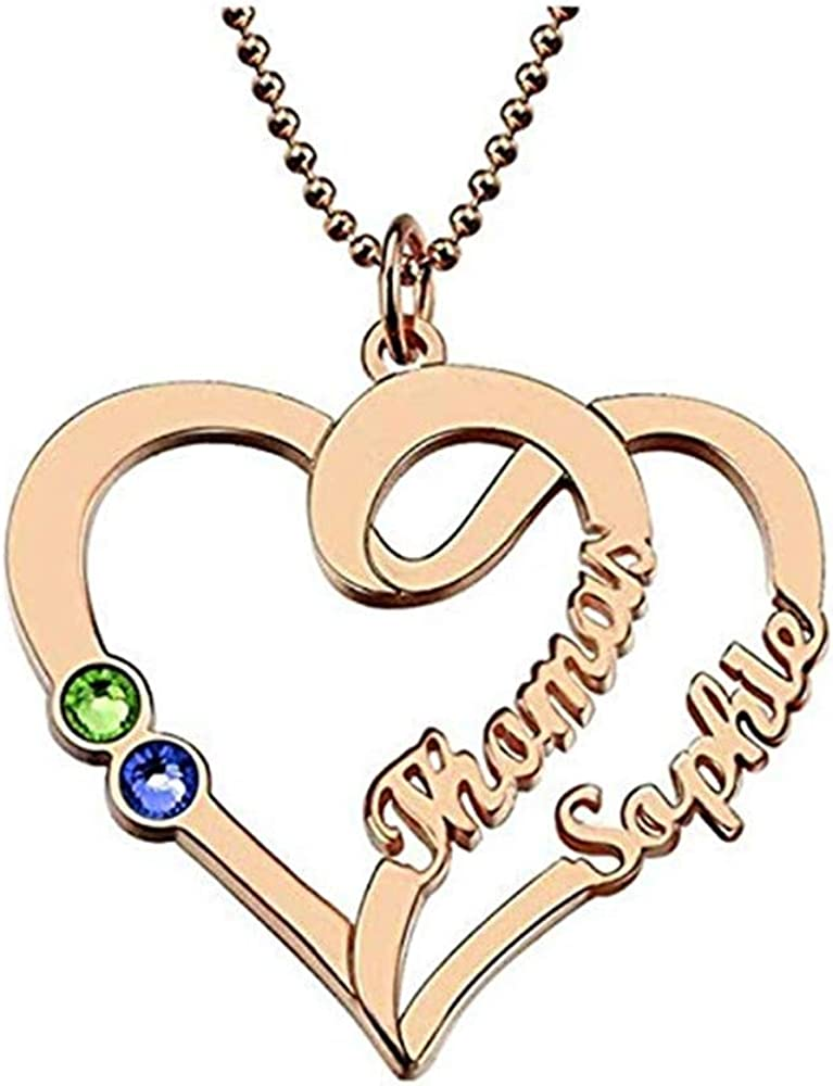 Junmei Custom Double Heart Necklace,Personalized 2 Heart Simulated Birthstone Name Necklace for Her