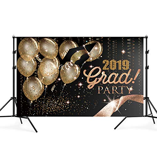 Nesee 5x3FT Graduation Party Photography Backdrops Class of 2019 Golden Ribbon Glitter Balloon Decorations Photo Booth Background Props (C)