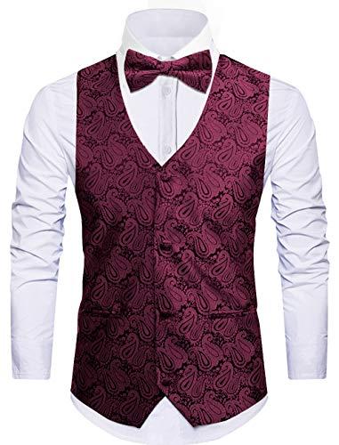 Cyparissus Mens Vest Waistcoat Men's Suit Dress Vest for Men or Tuxedo Vest (X-Large, Red 5#)