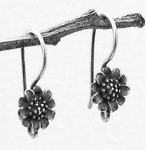 2 pcs .925 Sterling Silver Sun Flower French Hook Earwires Dangle Earring Connector Findings / Antique Earwires Flower
