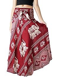 Women's Long Bohemian Hippie Skirt Boho Dresses Elephant One Size Asymmetric Hem Design