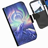 Hairyworm - Dolphins with northern light background Acer Liquid Z220 leather side flip wallet cell phone case, cover with card slots, money slot and magnetic clasp to close.