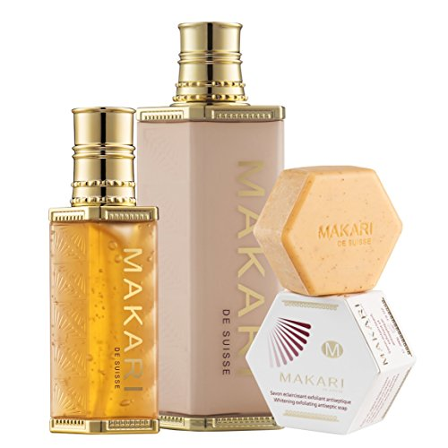 Makari Classic Skin Discoloration Kit – Complete Skin Lightening, Evening & Toning System with 4.75 fl.oz Body Beautifying Milk, 1.35 fl.oz Skin Repairing Clarifying Serum & 7.0 oz. Whitening Soap