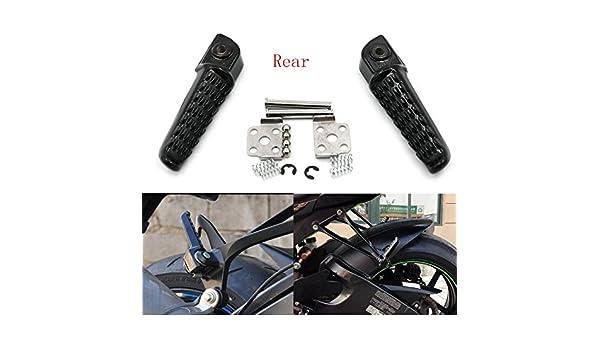 Amazon.com: Alpha Rider Black REAR Footrests Foot Pegs ...