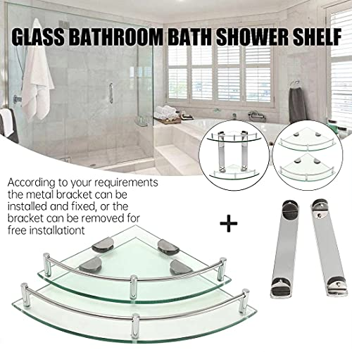 Bathroom Shelves,2 Tier Glass Shelves Wall Mounted with Stainless Steel Bracket,Corner Shower Shelf to Hold Seasoning Bottle/Liquid Soap/Shampoo Bottle(Radius: 9.8\'\')