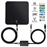 MRNKI HD Antenna, 40 Mile Range Indoor TV Antenna with Anti-Interference Detachable Amplifier Signal Booster - Black