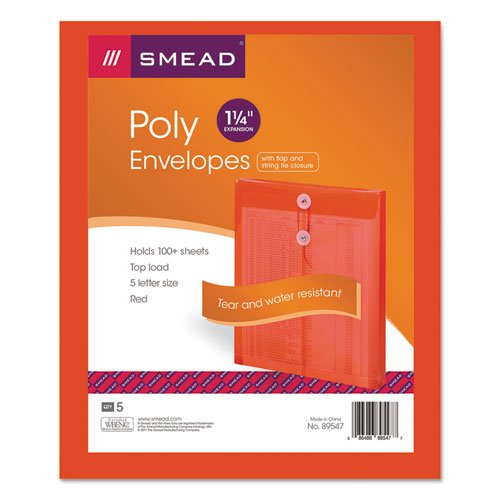 Smead Ultracolor Expandable Poly String-Tie Envelopes, Top Load, Red, 5/pk ()
