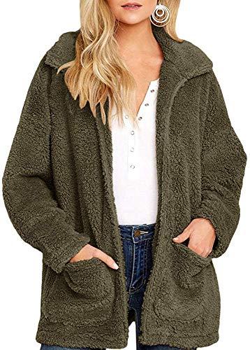 Yanekop Womens Coat Casual Lapel Fleece Fuzzy Sherpa Warm Winter Oversized Outwear Jackets(Army Green,S)