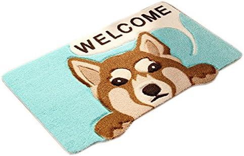 Dog Animal Pattern Anti-Slip Rugs,16.5 x 26 Washable Home Door Carpet,Kitchen Dining Living Hallway Bathroom Mat Blue Dog