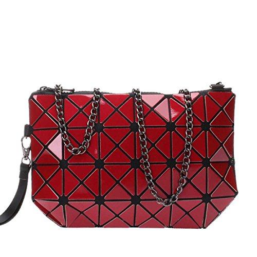 Bolsa De Las Mujeres Holograma Cruzada Geométrica Del Cuerpo Del Hombro Del Bolso Del Bolso Cosmético Red