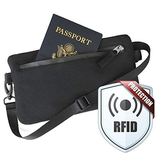 RFID Passport Wallet - Small Travel Crossbody Bag, Cell Phone Purse for Women (Black)