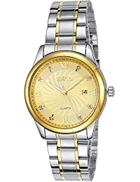 INWET Luxury Men's Quartz Watch,Gold Dial,Inlaid Crystal Indexes,Stainless Steel Bracelet,Date Calendar