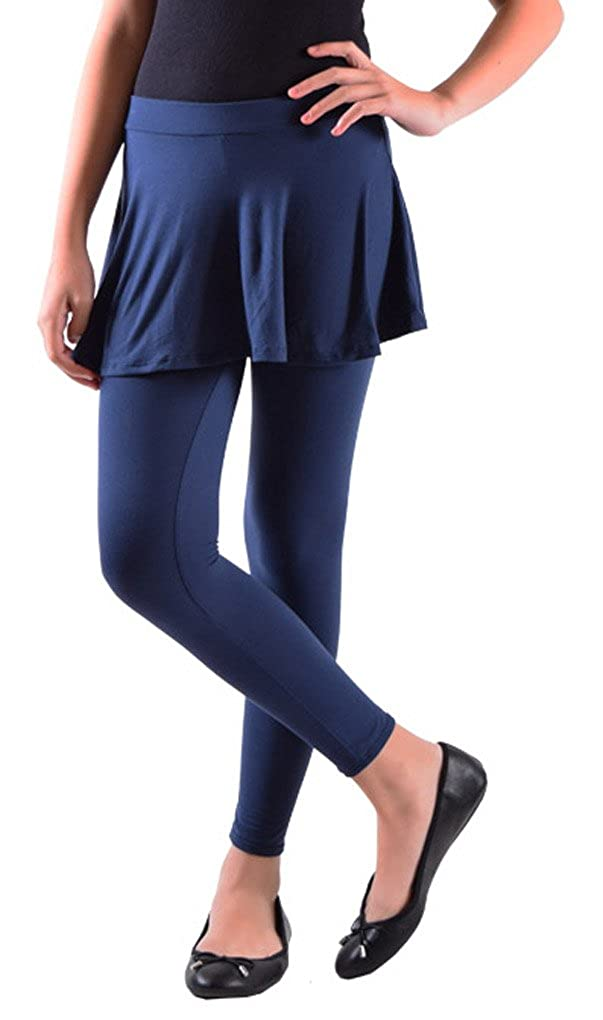 Dinamit Jeans Girls Solid Color Cotton-Spandax Skirted Leggings CACBSL818-pp