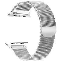 ATOM - Cinturino Compatibile con Apple Watch 42/44 mm - Serie 1/2/3/4 - Acciaio Inox Chiusura Magnetica - Maglia Milanese - Nero/Argento - Elegante e Lussuoso
