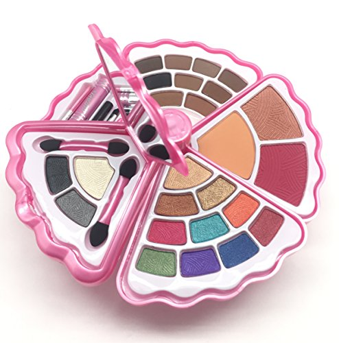 Multi Use Makeup Palette - BR- All in one Makeup Set - Eyeshadows, Blush, Lip gloss Mascara and Wax (Shell, Light Pink)