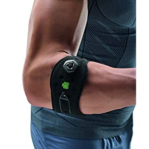 Bauerfeind Adjustable Sports Elbow Strap - Single, Black, One Size - Forearm Pain Relief from Golfers and Tennis Elbow - Five Point Pad for Direct Pressure on Tendon - Boa Closure System