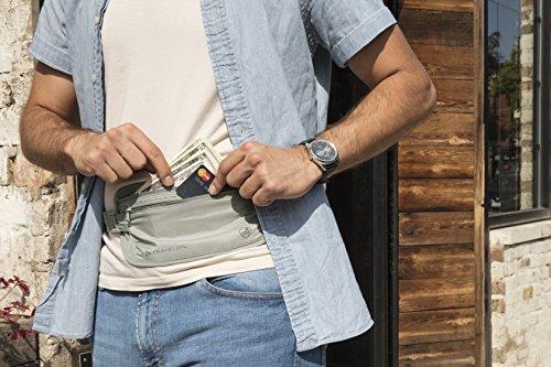 51V1D6Oh5CL - Travelon RFID Blocking Undergarment Waist Pouch, Gray