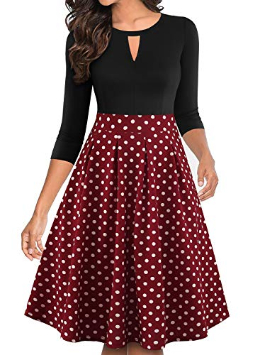 YATHON Women's Cute V-Notch Red Dot Patchwork Vintage Dresses Retro Pleated Pockets Fall Winter Prom Wedding Party Church Formal Swing Casual Dresses (M, YT018-Wine Red Dot-3/4)