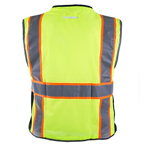 RK Safety P6612 Class 2 High Visible Two Tone Reflective Strips Breathable Mesh Vest, Pockets Harness D-Ring Pass Thru, ANSI/ISEA, Construction Motorcycle Traffic Emergency (Lime, Medium) by New York Hi-Viz Workwear (Image #9)
