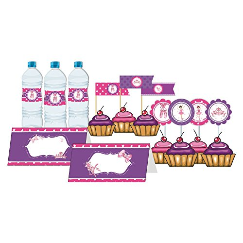 Costume Party Invitations Printable (Ballerina Party. Dessert Table Decorations. Ballerina Birthday Party for Girls. Purple & Pink. 76 Pieces Includes Table Cover, Food Labels, Picks, Bottle Wrappers, Toppers and Cupcake Wrappers.)