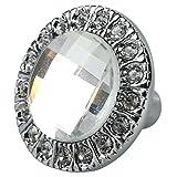 TOOGOO(R)1pcs Crystal Glass Clear Round Pull Handle Glittering Rhinestone Knob for Cupboard Drawer Silver