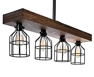 Farmhouse Lighting Triple Wood Beam Rustic Decor Chandelier Light - Great in Kitchen, Bar, Industrial, Island, Billiard, Foyer and Edison Bulb. Wooden Vintage Reclaimed Four Light With Cages