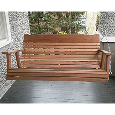 4' Natural Cedar Porch Swing, Amish Crafted - Includes Chain & Springs