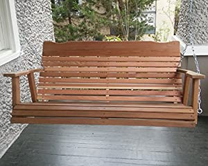 4u0027 Natural Cedar Porch Swing, Amish Crafted   Includes Chain U0026 Springs
