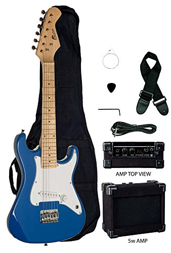 Raptor EP5-BU Kids Child Mini St. EP5 Starter Electric Guitar Package with, Gig Bag, Strap, Cable and Picks, 5W/Amp, Blue by Raptor