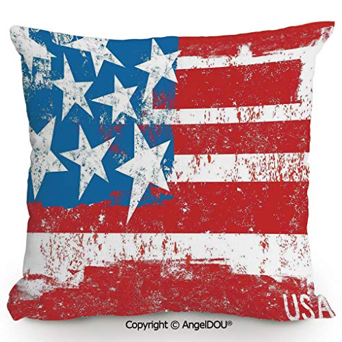 AngelDOU Fashion Sofa Cotton Linen Throw Pillow Cushion,Culture Flag Solidarity of USA Stars Inspiration Retro Royalty Artwork,Bed Office car Pillow Customized Accept.17.7x17.7 inches