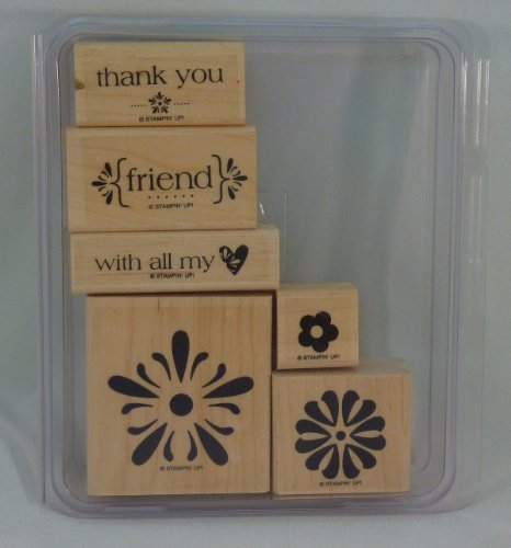 Stampin' Up! WITH ALL MY HEART Set of 6 Decorative Rubber Stamps Retired
