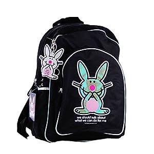 37291fb79d Borsa US Happy Bunny – marca zaino urbano Design Nero per studente e adulti  – 40 x 30 x 12 cm – American Backpack Bag