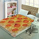 Blanket for Bed Couch Chair Fall Winter Spring Living Room,26th Birthday Decorations,Romantic Little Cupcake Lovers Surprise Valentines Print,Ruby Orange Blue,59.06' W x 86.62' H
