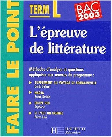 Meilleurs livres audio téléchargement gratuit mp3 Faire le point : L'Épreuve de lettres, terminales L-ES 2011685648 PDF RTF