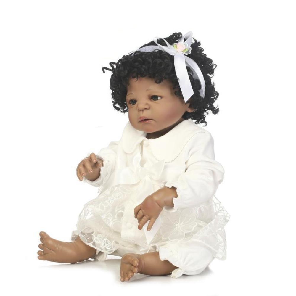 GHCX Silikon-Simulation Reborn Puppe Schwarze Haut Baby Kann Kann Kann Das Wasser Begleiter Spielzeug Baby Kreative Persönlichkeit Geschenk 56CM 09e355