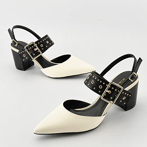 Profondes Peu Mot SHOESHAOGE Talons Couleur Chaussures Sandales Talon Boucle Seul Talon De De L'Automne unie Chaussures Baotou Bouche Un FqEC5w