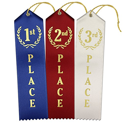 1st - 2nd -3rd Place Premium Award Ribbons 75 Count Value Bundle - 25 Each Blue,Red,White with Event Card and String - Made in The USA]()