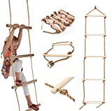 The Magic Toy Shop Wooden Rungs Kids Climbing Rope Ladder For Garden Outdoor Tree Swing Frames