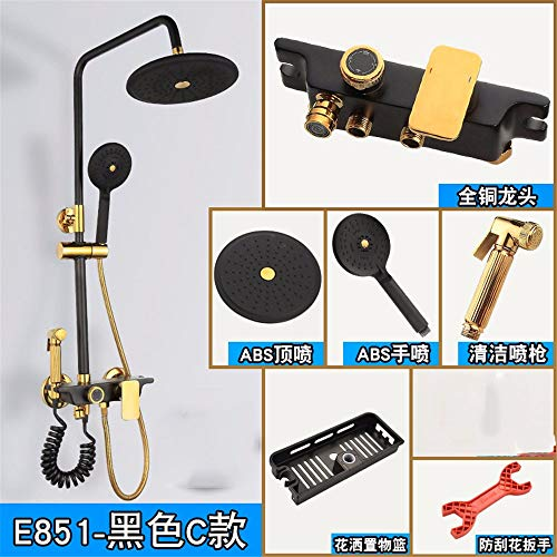 Black Gold Shower Set All Copper Shower Faucet Four-Speed Belt Bidet Thick Lift Rod Supercharged Shower Black Gold C.