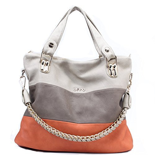 [Women's Classic Fashion Tote Handbag Shoulder Bag Perfect Large Tote with Shoulder Strap(258,orange)] (Double Shoulder Tote)