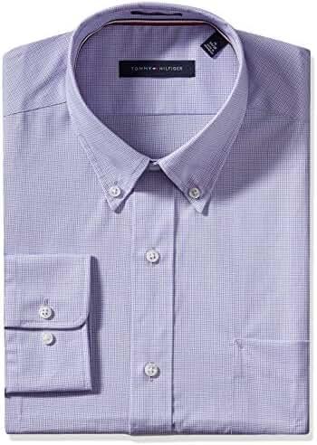 Tommy Hilfiger Men's Non Iron Regular Fit Mini Tattersall Bd Collar Dress Shirt