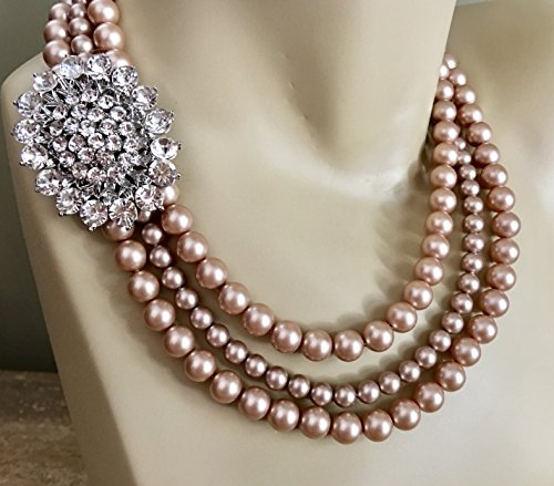 Champagne Pearl Necklace Set with Brooch and Earrings Wedding Jewelry in 3 multi strands Swarovski pearls in Powder Almond taupe your choice of color by Alexi Blackwell Bridal