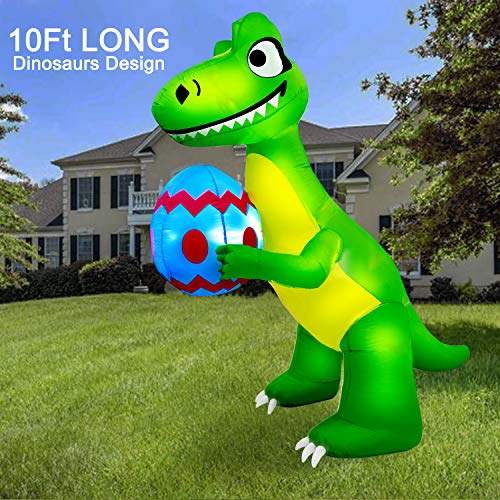 AMENON 10 Ft Long Easter Inflatables Dinosaur with Eggs Easter Holiday Inflatables Outdoor Decorations Easter Dinosaur Blow Up with LED Lights for Home Yard Lawn Garden Indoor Outdoor