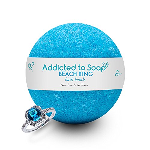 Addicted to Soap - Beach Ring Bath Bomb | Ultra Luxurious - Extra Large 6oz Bath Bomb with STERLING SILVER RING Surprise Inside - Organic & Sensual Relaxation Handmade in Texas (Ring Size 7)