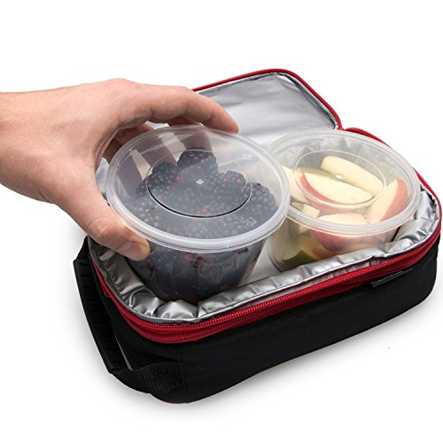 Large Product Image of Glotoch 24 Pack Durable Plastic Microwaveable Reusable Clear Takeout Travel Deli Food Storage Containers with Lids, Dishwasher and Freezer Safe, BPA Free (8oz)