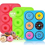 WALFOS 3 Pack Food Grade Silicone Donut Pan Molds,Non-Stick Safe Baking Pans for Perfect Shaped Doughnuts-Cake Biscuit Bagels -BPA Free,Dishwasher, Oven, Microwave, Freezer Safe