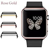 Josi Minea Protective Snap-On Case with Built-in iWatch 3 Clear Glass Screen Protector - Shockproof & Anti-Scratch Shield Guard Full Cover Compatible with Apple Watch Series 3 [ 38mm - Rose Gold ]