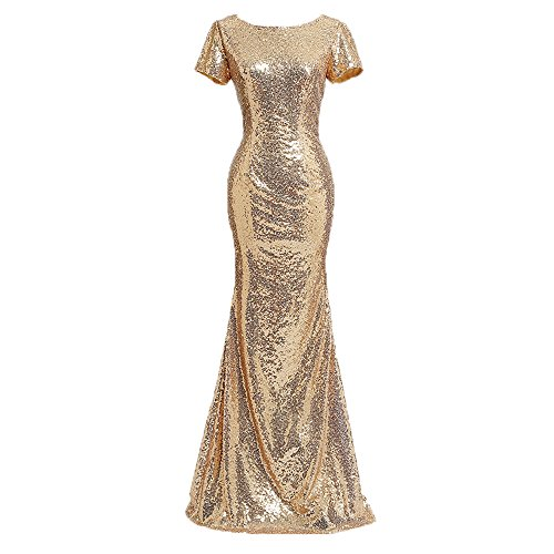 Honey Qiao Sequins Gold Bridesmaid Dresses Long High Back Evening party dress