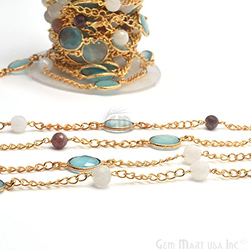 - Aqua chalcedony with Multi Stone Connector Chain, Gold Plated Bezel Connectors Link Chain (GPQM-20029)