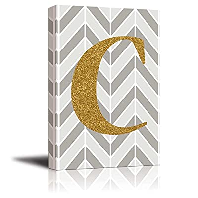 Stunning Handicraft, Premium Creation, The Letter C in Gold Leaf Effect on Geometric Background Hip Young Art Decor
